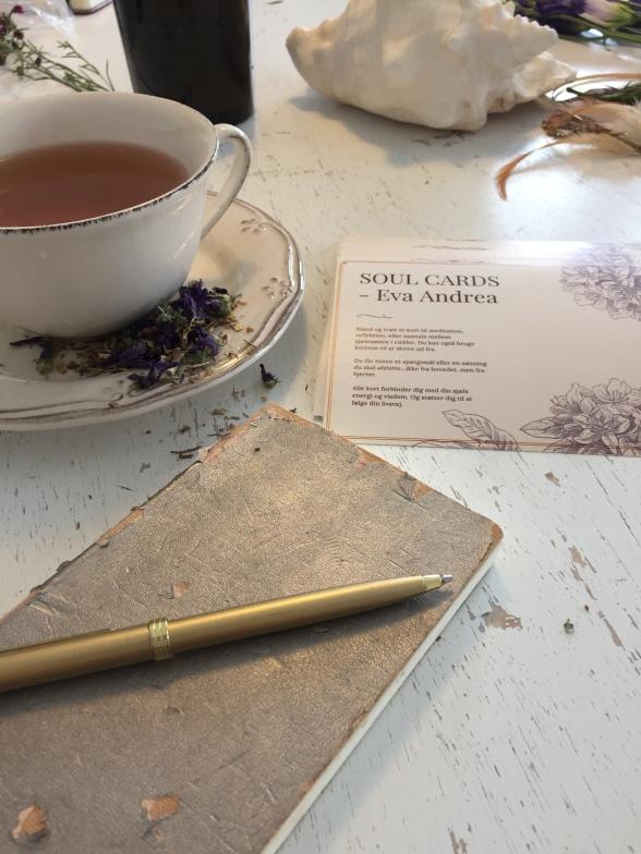te, notesbog og soulcards